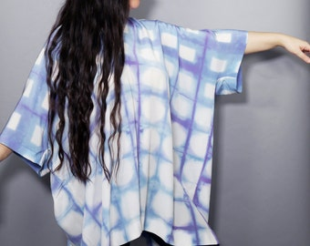 Shibori Silk Caftan Kaftan Purple and Blue Grid Pattern