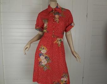 Boho Summer Dress in Red Floral- 1970s / 70s- Empire Waist- Boho / Festival