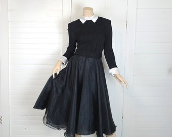 Wednesday Addams Party Dress in Black & White- 1990s / 90s- Small- Fit + Flare