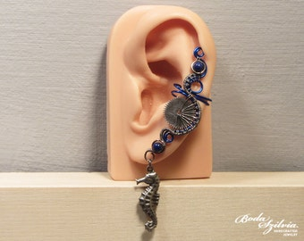 STEAMPUNK mermaid EAR CUFF - wire wrapped ear cuff, steampunk ear wrap, elegant steampunk jewelry, no piercing ear cuff, gear earcuff