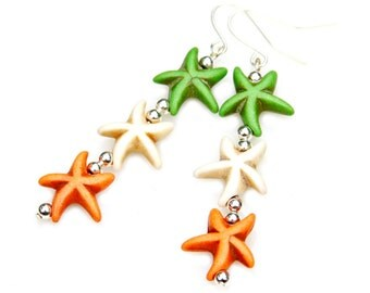 Colorful Starfish Earrings Long Beachy Dangles Sea Ocean Lime Green Creamy White Juicy Orange Boho Chic Beach Nautical Fun Fashion Mei Faith