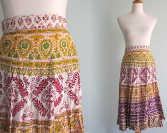 Vintage Indian Cotton Wrap Skirt - Beautiful 70s India Cotton Skirt in Bright Colors - Vintage 1970s Skirt S M