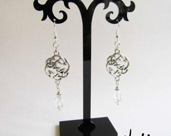 NEW Antique Silver Dangling Clear Czech Glass Drop Celtic Knot Earrings (ERSP3)