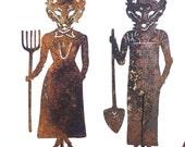 Mr and Mrs Fox Metal Garden Art Sculpture-Sold as a Set