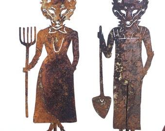Mr and Mrs Fox Metal Garden Art Sculpture American Gothic- Free Shipping- Home Garden Decor