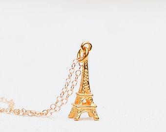 Gold Eiffel Tower Necklace Paris Charm Gold France PARIS Love 14K Gold