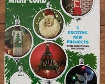 vintage 70s 80s macrame pattern MERRY CHRISTMAS from Maxi-Cord santa, noel hanging, tree, angels, tree hanging