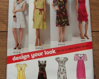 2007 new look pattern 6750 misses dress mix and match pattern pieces to design your own sz 8-18 uncut