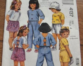 vintage 80s McCalls pattern 4137 children's tops skirt pants shorts girl sz 4 uncut