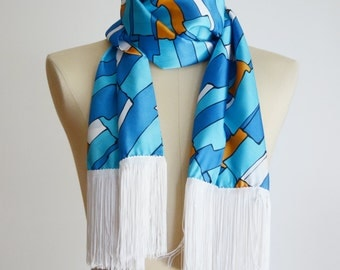 Blue 1970s Italian Long Scarf with Fringe - 22