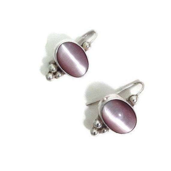 Vintage Pink Cats Eye Earrings - Sterling Silver Mexico 925