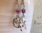 CLEARANCE SALE Fairy Earrings, Purple Glass, Fairy on the Moon