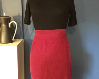 Mod Burgundy Wine Corduroy Highwaist Flatfront Mini Skirt W26