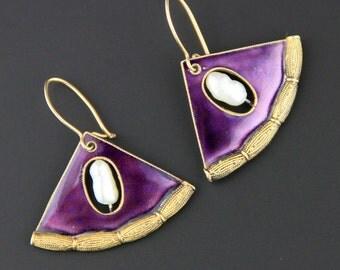 Vintage Chinese Enamel Earrings, Freshwater Pearl Earrings, Vermeil Earrings, Gold Wash, Sterling Silver Earrings, Enamel Earrings, 1980s