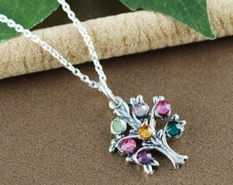 Sterling Silver Tree of Life Necklace, Family Tree with Birthstones, Grandmother Necklace, Mommy Necklace, Gift for Mom, Gift for Grandma