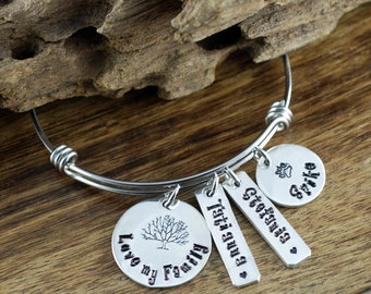 Personalized Bangle Bracelet, Love my Family, Hand Stamped Silver Bangle Charm Bracelet, Name Bracelet, Gift for Grandma, Gift for Mom