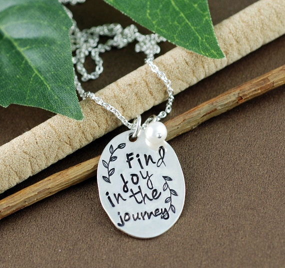 Find JOY in the Journey Necklace, Pearl Necklace, Inspirational Necklace, Hand Stamped Necklace, Motivational Necklace,  Journey Necklace