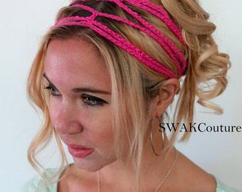 Crochet Headband Boho Hippie Headband Goddess Chain Headband Festival Hair Accessories Hair Wrap for Women Handmade - Hot PInk