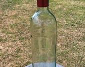 Wine Bottle Bird Feeder ~ Garden Bird Feeder  ~ Re Purposed Wine Bottle ~ Vintage Plate ~ Red Flower Plate ~ Red Floral Plate