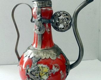 Asian Hand Painted Ornamental Armored Porcelain Chinese Teapot Tibetan Miao Silver Monkey Kirin DRAGONS