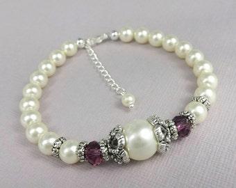 Plum Bridesmaid Bracelet,  Swarovski Plum Wedding Bracelet, Plum Wedding Bracelet, Ivory Pearl and  Plum Bridesmaid Bracelet, Purple Wedding