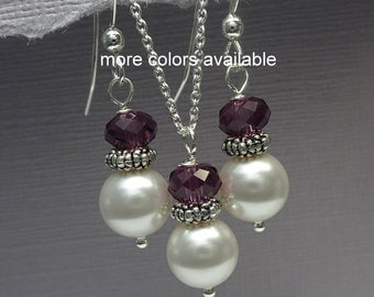 Plum Jewelry Set, Purple Jewelry Set, Swarovski White Pearl and Purple Crystal Necklace and Earring Set, Bridesmaid Jewelry Set