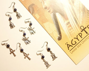 Egyptian earrings, Tutankhamun, Ankh, Cleopatra, Anubis, Pharaoh, Dynasty, wanderlust, travelling, African, Indie, Boho, Gypsy