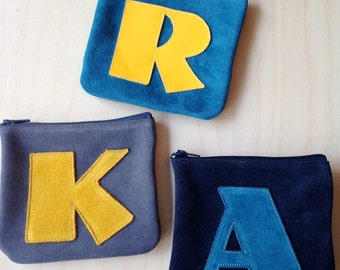 NEW! Suede Letter Coin Purse