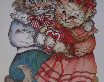 Dressed Victorian Valentine Cats-Fancy Dress-Hat-Heart-Vintage Cat Postcard-Evelyn Gathings