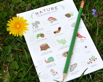 Scavenger hunt game, kid's party game, nature kid game, hiking