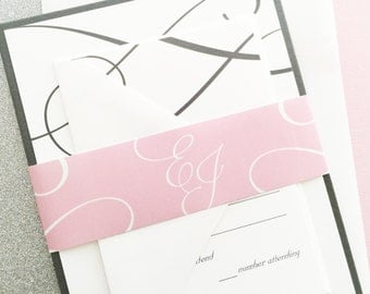 Wedding Invitations, Wedding Invites, Classic Wedding Invitations, Elegant Wedding Invitations, Grey and Pink Wedding