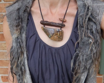 Artisan Boulder Opal, wood, kyanite necklace -  unique natural macrame jewelry on braided cord - wearable art handmade in Australia.