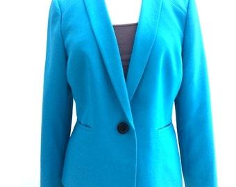 Vintage 90s TURQUOISE Blue Blazer / Evan Picone / Womens Size Large