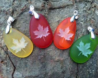 Fall Maple Leaves pendant - Reminder life is still Sweet- engraved Sea Glass Beach Jewelry - choose your color