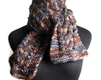 Hand Knit Scarf, Cable and Lace Navy Brown Taupe Scarf, The Stef Scarf, Vegan Mens Scarf, Womens Accessories, Fall Scarf