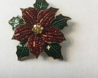 Vintage Liz Claiborne Red & Green Enamel Poinsettia Christmas Pin