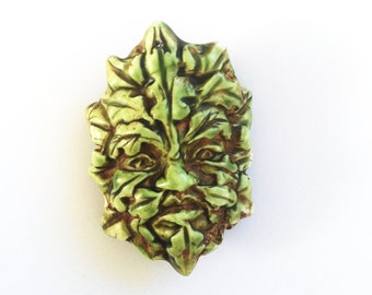 Green Man Leaf Face Handmade Focal Bead