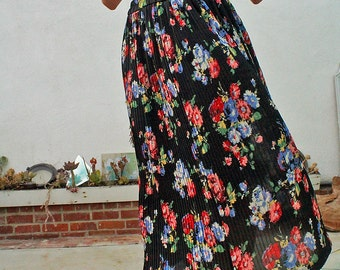 Vintage Floral Sheer Maxi Skirt//pleated//women's size small-medium