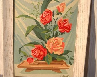 Mid Century Paint By Number Roses Painting