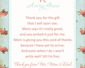 Shabby Chic Rose Baby Shower Thank You Card - You Print - 4x6 or 5x7
