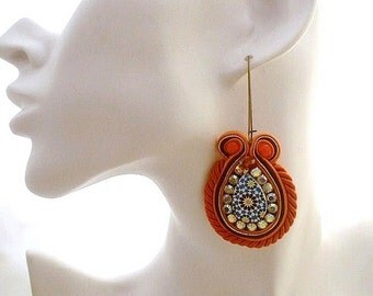 orange brown boho earrings , drop earrings jewelry , dangle soutache earrings , boho chic earrings , ethnic tear shaped earrings , beaded