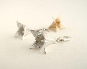 Origami Iris Earrings Silver Iris Earrings Origami Iris Jewelry Flower Jewelry Flower Earrings Origami Jewelry