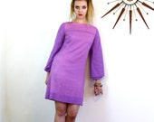 Vintage 70s Micro-Mini Dress YOUNG EDWARDIAN by Arpeja Pastel Purple MOD Striped Long Bell Sleeve Go-Go A-Line Cut Tent 1970s Shift