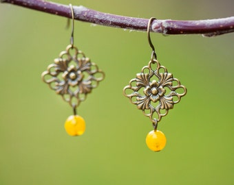 Mustard Earrings, Ornate Brass Filigree Vintage Inspired Country Chic Earrings with Yellow Czech Glass