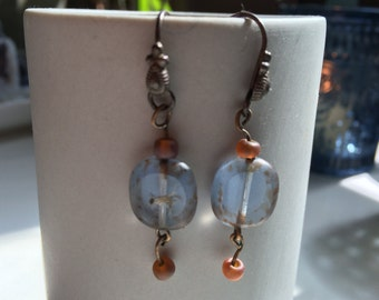 Dangling Glass Bead Earrings Blue and Red