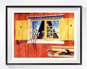 1. Old Barn Red Art / Original Watercolor Painting rustic vintage window shutters Home decor / Swedish farm landscape Yellow mustard / 15x19