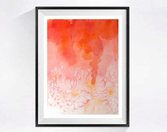 1. Original watercolor painting / Abstract art / Color block / Abstract painting / Home decor / orange pink / 12 x 9 ORGI