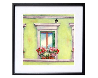 Italian Window Flower Box Art Print Watercolor Mediterranean urban landscape Florence Italy watercolour painting green painting Floral art A