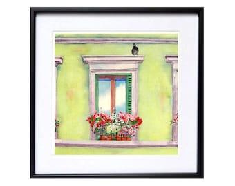 Italian Window Flower Box Art Print Watercolor Mediterranean urban landscape Florence Italy watercolour painting green painting Floral art