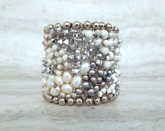 Bridal Cuff in Silver & White -Artisan Jewelry by Sharona Nissan (Sample sale)
